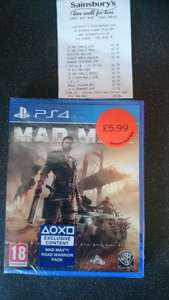 mad max on ps4 £5.99 at sainsbury in store in ramsgate branch