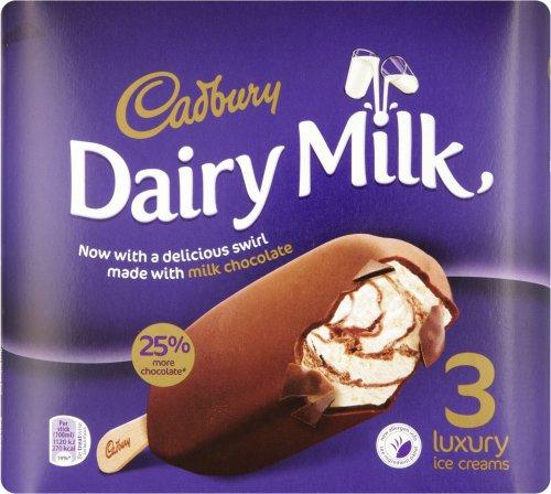 Cadbury Crunchie Blast 3 x 100ml (300ml) / Cadbury Dairy Milk Ice Cream Swirl Luxury Ice Cream 3 x 100ml (300ml) was £2.50 now £1.25 @ Iceland & Asda