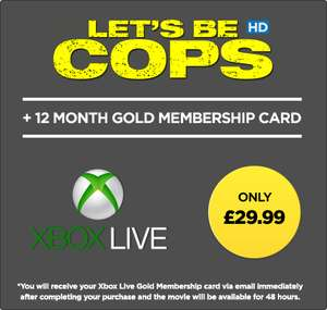 Xbox Live 12 Month Membership  + Let's Be Cops HD rental £29.99 @ Wuaki
