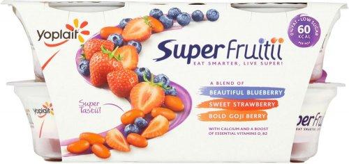 Yoplait Super Fruitii Blueberry Strawberry & Goji Berry Yogurts was £2.50 now 2 Packs of (4 x 100g) for £3.00 @ Asda
