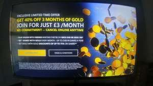 -40% Off 3 Months Xbox Gold / £3 a month - Xbox Dashboard