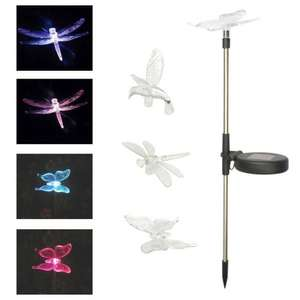 Colour changing dragonfly or butterfly led solar lights £3.99 each or buy 3 for £10.77 delivered @ eBay sold by thinkprice