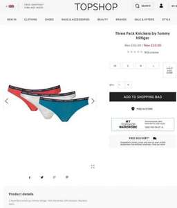 Tommy Hilfiger three pack knickers from Topshop was £32.00 now £10.00 free c&c
