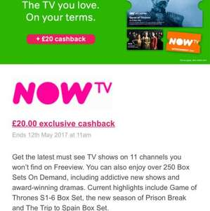 NOW TV 12 Months Entertainment Pass for £54 (£4.50pm) with £20 Cashback via TCB (£2.83 after cashback) = £34