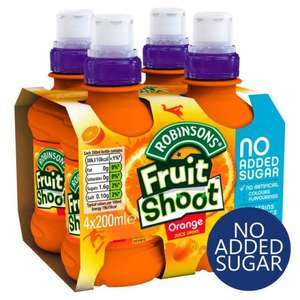Robinsons Fruit Shoots Blackcurrant & Apple, Orange, Peach & Mango 4 x 200ml was £1.98 now 94p In Store & Online @ Tesco