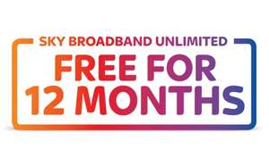 Get Sky Broadband Unlimited, free for a whole year (line rental payable £18.99 = £227.88)