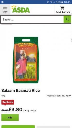 salaam basmati rice 5kg £3.80 in asda instore and online