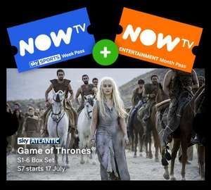 Now Tv Sports week pass & 1 month entertainment pass free £9.99