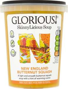 Glorious! SkinnyLicious New England Butternut Squash Soup (600g) was £2.10 now £1 also Glorious! SkinnyLicious Fragrant Thai Carrot Soup (600g) now £1.00 / Glorious! SkinnyLicious Goan Tomato & Lentil Soup £1.00 @ Morrisons
