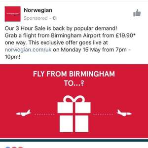 Norwegian airlines - FLASH SALE - Starts 15th May