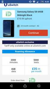 Samsung galaxy s8 64gb ID mobile £35.99pm for 24mths + £19.99 upfront total £883.75 via Uswitch