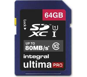 INTEGRAL UltimaPro High Performance Class 10 SDHC Memory Card - 64 GB - £13.99 @ Currys