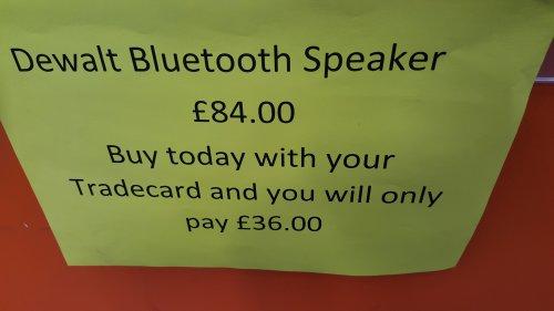 DeWalt DCR006 Bluetooth Speaker £36 @ Tradepoint