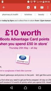 **LIVE NOW TODAY ONLY**£10 worth of advantage card points when you spend £50 in store on 25th May 2017 only @ boots