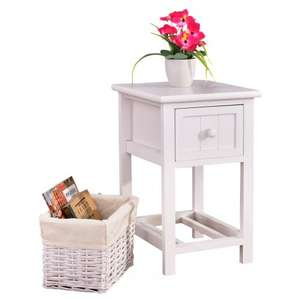 Bedside table with wooden drawer and rattan storage basket in white with great reviews £19.99 delivered @ eBay sold by savechannel