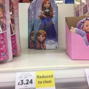 frozen dolls reduced from £14 to £3.24 at Tesco instore