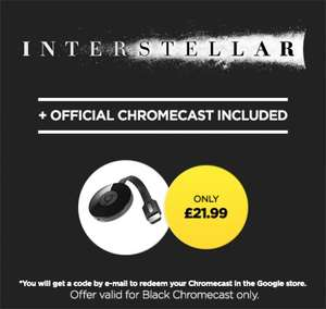 Google Chromecast 2 + Interstellar HD £21.99 at Wuaki.TV