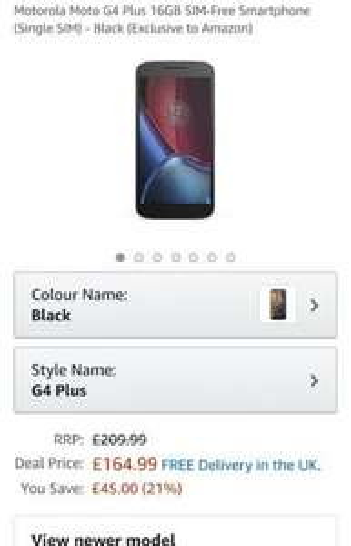 Motorola Moto G4 Plus 16GB SIM-Free Smartphone (Single SIM) - Black (Exclusive to Amazon) £164.99