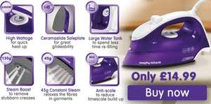 Morphy Richards 300275 Breeze Steam Iron, 2400 W, Purple/White £14.99 Amazon sold by Morphy Richards.
