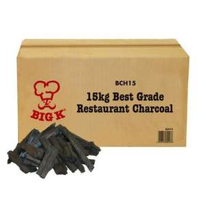 Big K  Restaurant Grade Charcoal 15kg,  3 for 2 Ocado £49.98 / £25.99 each