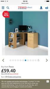 40% off office furniture at Tesco Direct, ie Fraser Oak Effect Corner Desk with Storage £59.40
