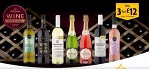 3 bottles for £12 on fizz, red, white & rose - some bottles £7.50 each with great reviews @ Morrisons
