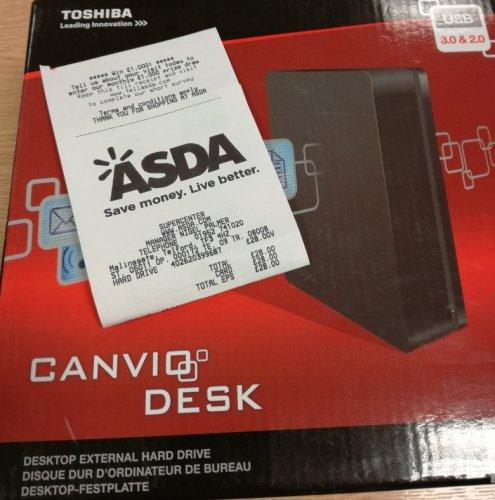 Toshiba  Canvio Desk Drive 3TB - £28 @ Asda Telford.
