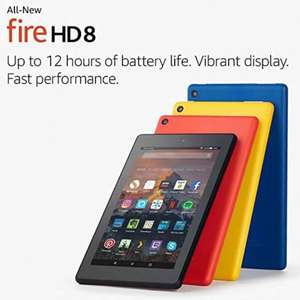 "All-New Fire HD 8 Tablet with Alexa, 8"" HD Display, 16GB £79.99 & 32GB £99.99 Buy any 3 new tablets and save 20% Free delivery @ Amazon"