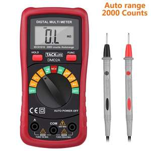 Tacklife DM02A Classic Digital Multimeter Auto Range Pocket Multi Tester £9 Prime / £12.99 Non-Prime Delivered w/code Sold by JT-UK and Fulfilled by Amazon