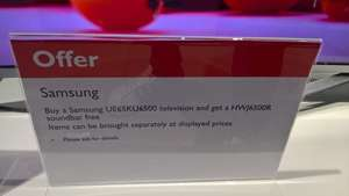 John Lewis instore Clearance TV bundles e.g Samsung UE55KU6500 £519.00