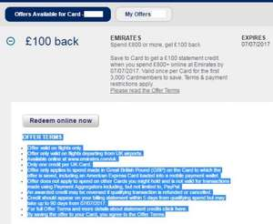 American Express (EMIRATES Spend £800 or more, get £100 back)