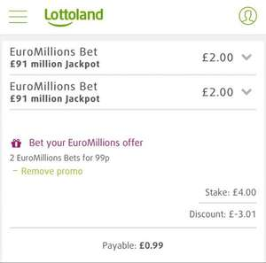 2 EuroMillions Bets on Friday's Jackpot for 99p @ Lottoland
