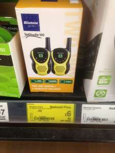 Binatone Latitude 100 twin walkie talkie £6 Asda instore