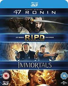 47 Ronin / RIPD / Immortals 3D [Blu-ray] [2011] [Region Free] £4.83 prime / £6.82 non prime @ Amazon