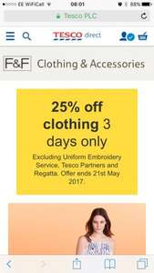 25% off Tesco clothing instore / online