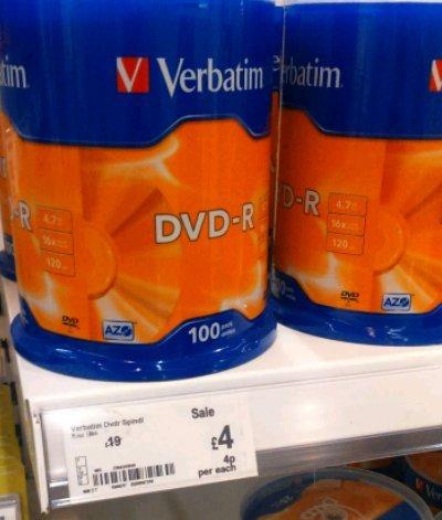 Verbatim DVD-R X 100 £4 instore @ ASDA
