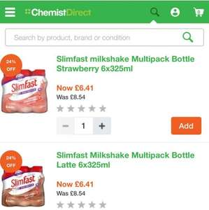 slim fast 25% off all range. shakes £6.41 for 6 bottles @ Chemist Direct