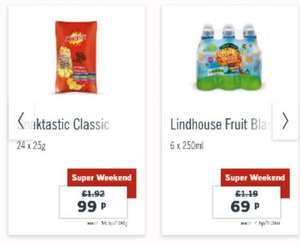 24 pack crisps 99p and 6 pack kids juice 69p Lidl weekend offer
