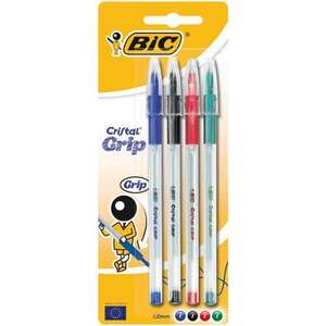 Bic Pen Cristal Grip Assorted 4pk 75p at Wilko reduced from £2