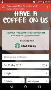 Free £10 Starbucks voucher with hotel room stay of £120 or more + 15% exclusive cashback TODAY ONLY on Quidco @ LateRooms.com