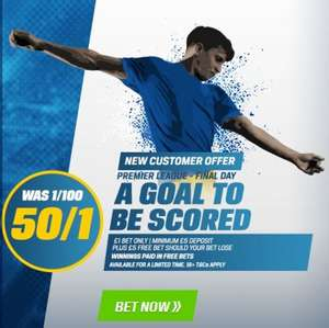 50/1 £1 bet on a goal to be scored in the Premier League today @ Coral (New customers)
