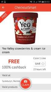 Yeo Ice Cream £4 @ Waitrose / Sainsburys - FREE via CheckOutSmart