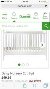 White cot bed less than half price @ Dunelm £49.99 (£9.95 Delivery)