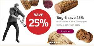 Buy any 6 or more wines get 25% off from 23/5 to 06/06 £4.95  @ Sainsbury's