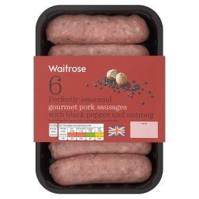 Waitrose 6 British gourmet pork sausages with black pepper & nutmeg  400g was £3.29 now £2.19 or £1.75 PYO