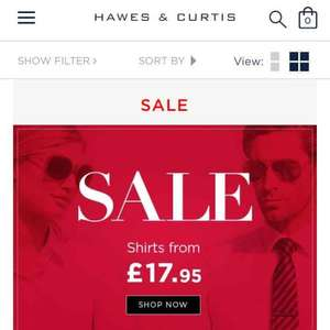 Hawes And Curtis Reduced Shirt Sale from £17.95