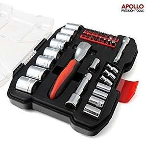 Apollo 35 Piece Metric Socket Set (4mm to 21 mm) with Professional 72 Teeth Dual Dr. Quick Release Ratchet Handle and Accessories in Compact Storage Box @ Amazon (Apollo Fulfilled By Amazon) £14.99 Prime, £18.98 Non-Prime