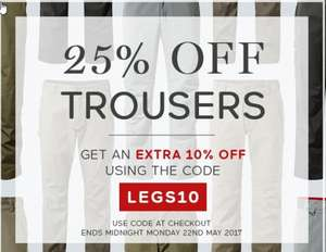 25% off trousers at Craghoppers plus extra 10% using code LEGS10