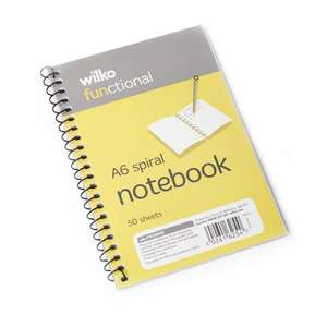 Wilko Functional Spiral Notebook A6 50 Sheets for 30p