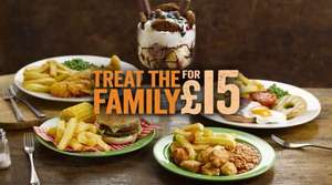 It's back! Feed a family of 4 including massive candy mania sharing dessert for £15 - £3.75 a head! @ Hungry Horse